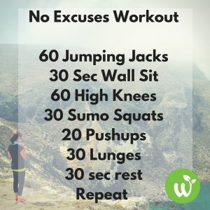 No Excuses Workout60 Jumping Jacks30 Sec Wall Sit60 High Knees30 Sumo Squats20 Pushups30 Lunges30 sec restRepeat
