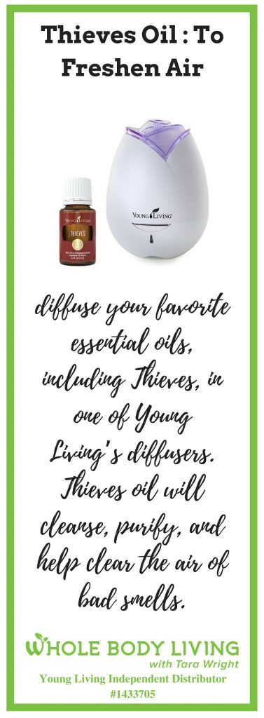 picture of a bottle of thieves oil beside a diffuser to freshen air
