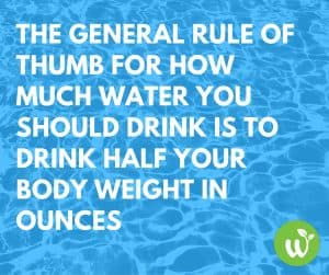 FB The general rule of thumb for how much water you should drink is to drink half your body weight in ounces