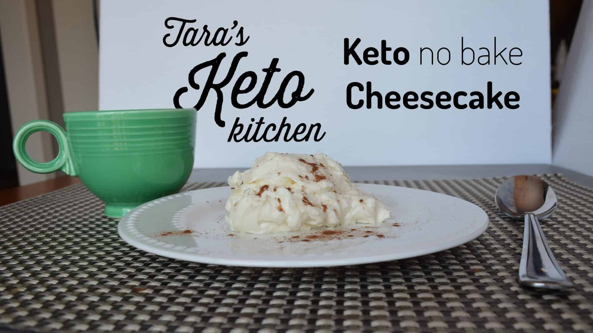 Keto No Bake Cheesecake with a cup of espresso