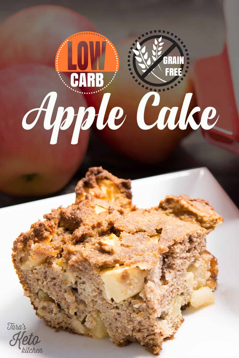 slice of Grain Free Apple Cake with title