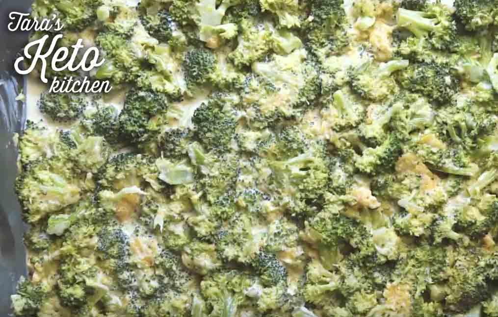 Keto cheesy broccoli bake ready for the oven