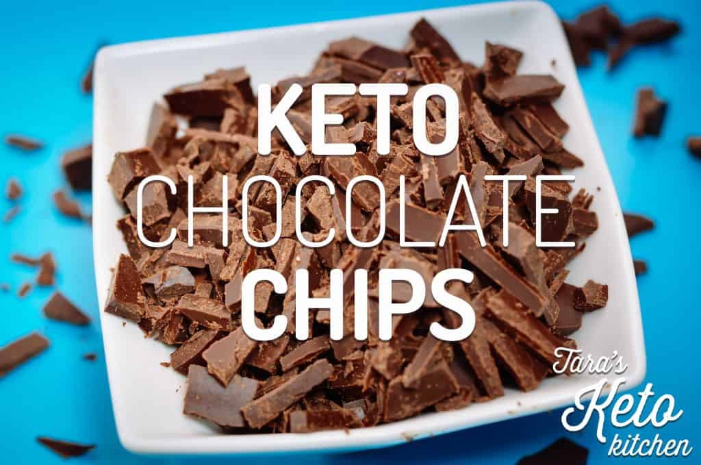 keto chocolate chips in a bowl with a blue background