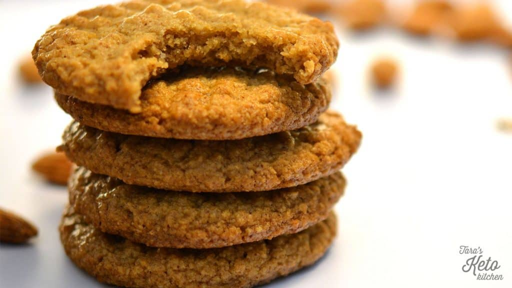close up shot Keto Almond Butter Cookies stacked together