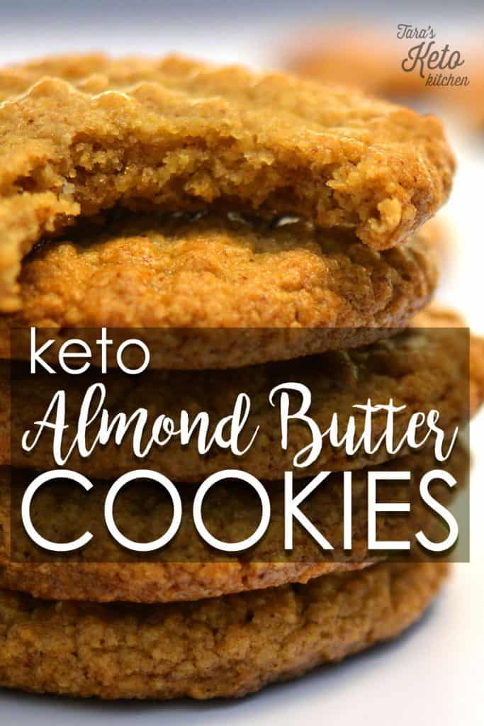 Keto Almond Butter Cookies stacked together with title
