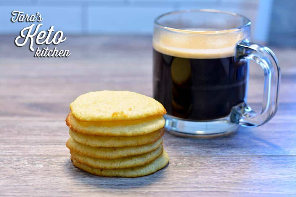Keto Sugar Cookie Muffin Tops with coffee