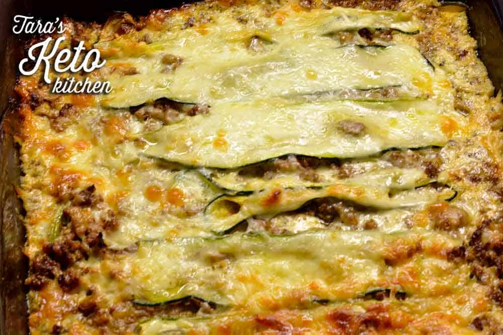 keto lasagna with zucchini shown baked and ready to eat