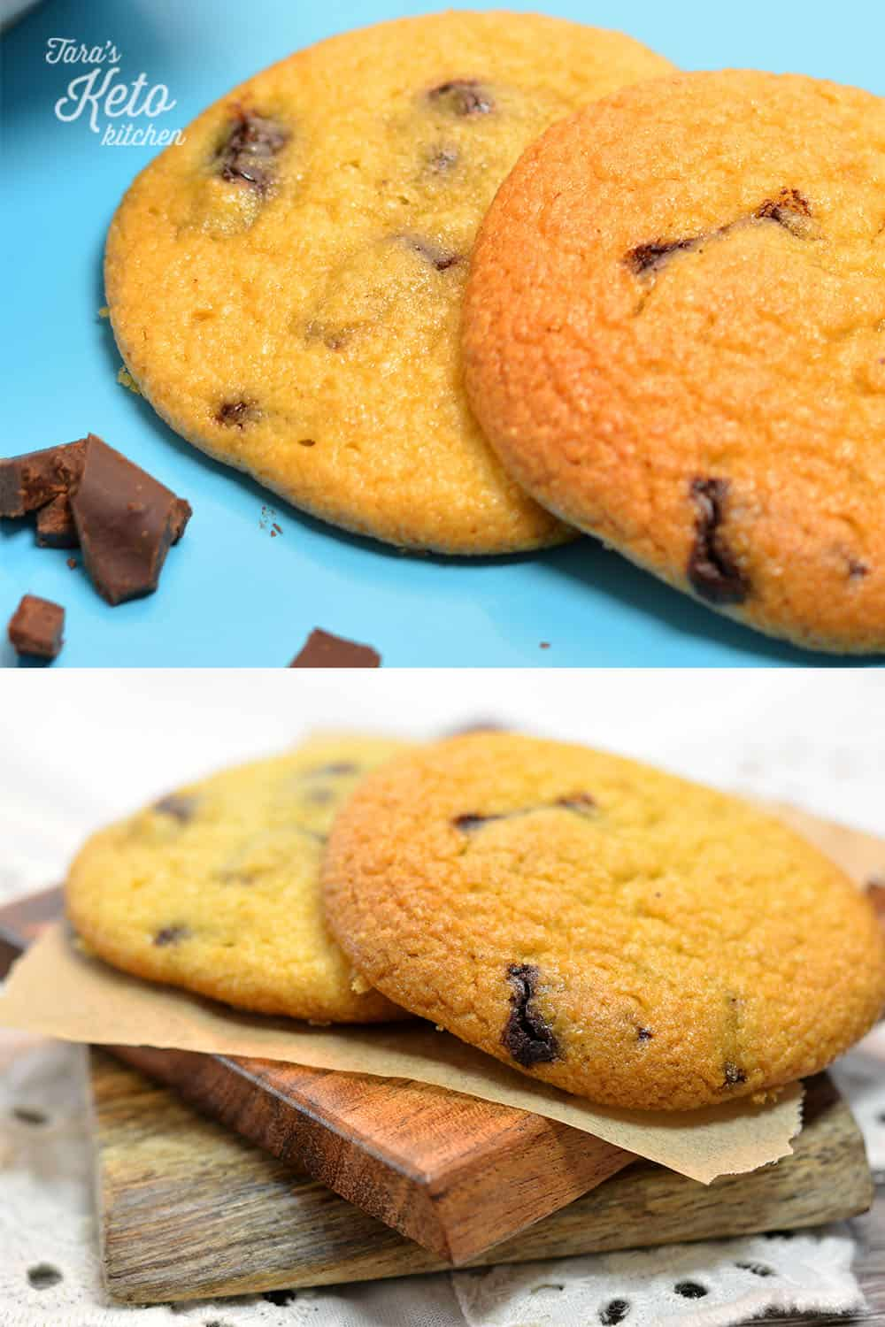 two keto chocolate chip cookies stacked on top of each other
