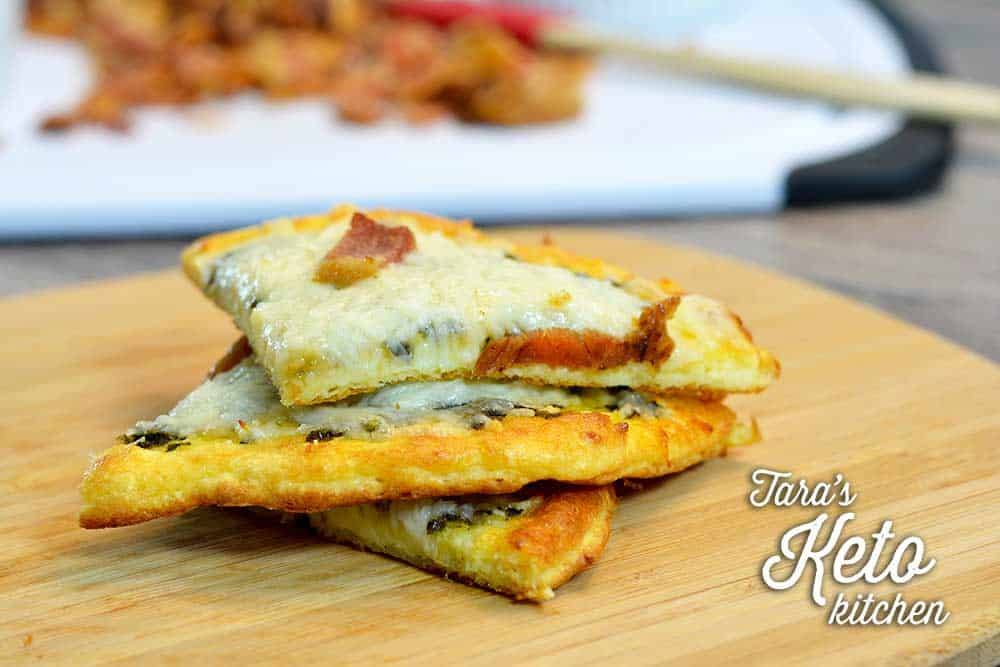 keto coconut flour pizza slices