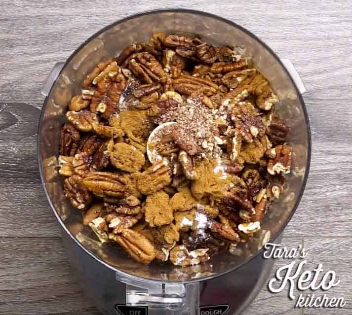keto maple pecan nut butter in the food processor before mixing