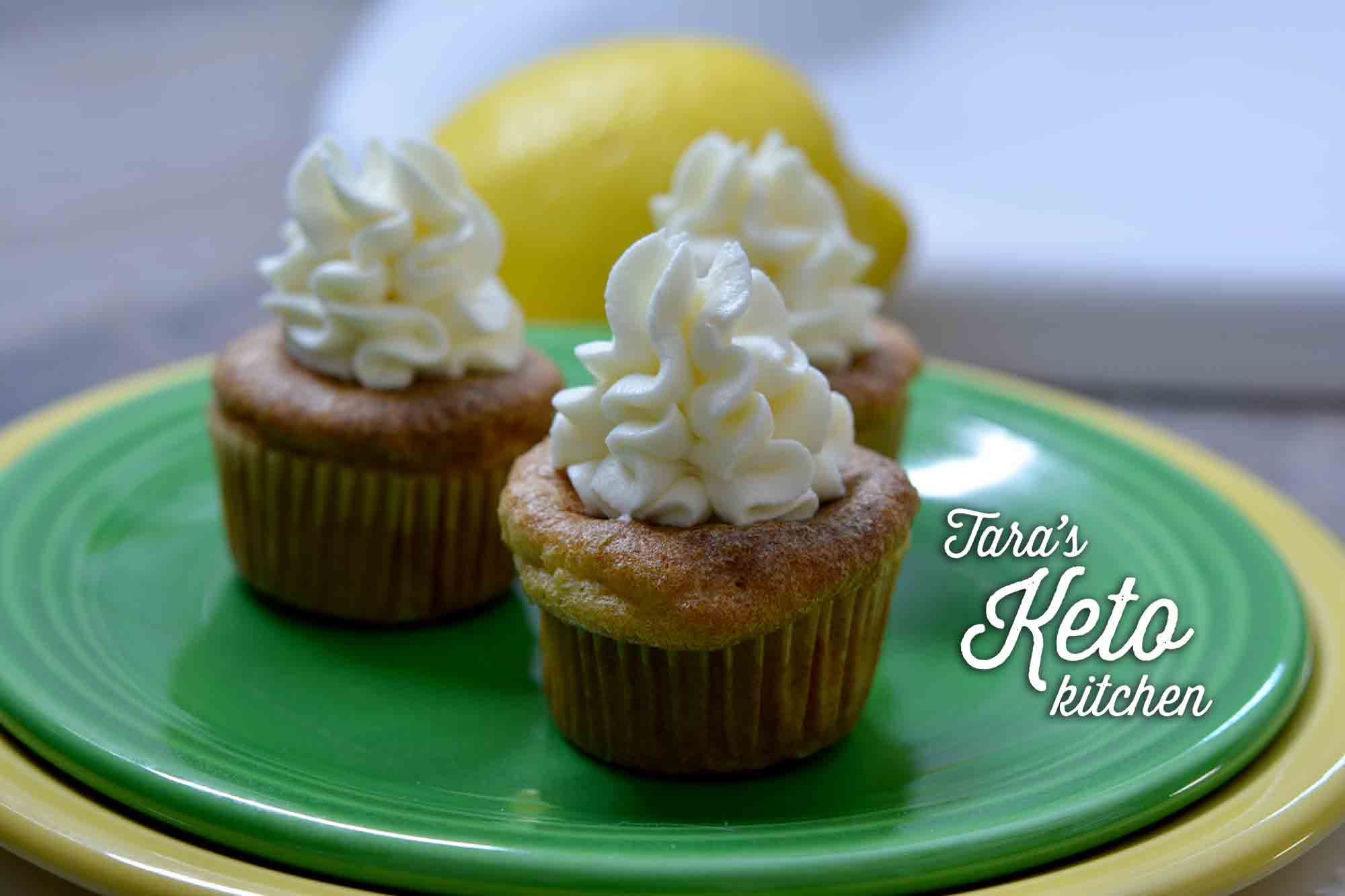 keto vanilla cupcakes topped with lemon lime frosting