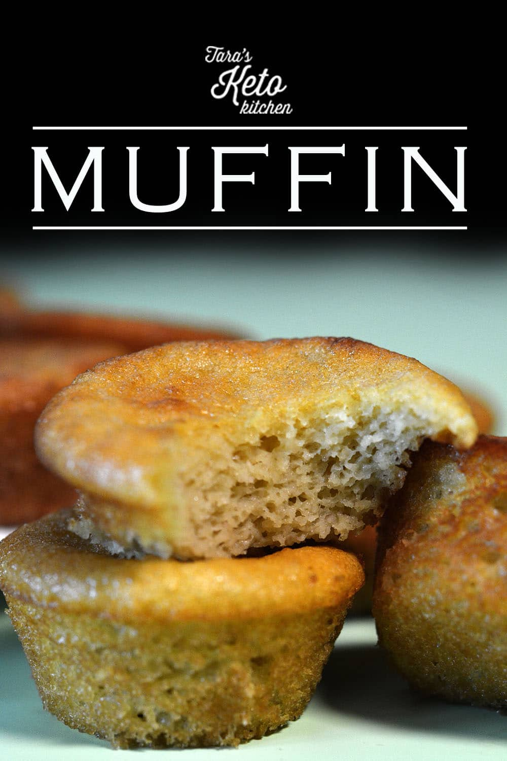 three  keto muffins stacked on top of each other