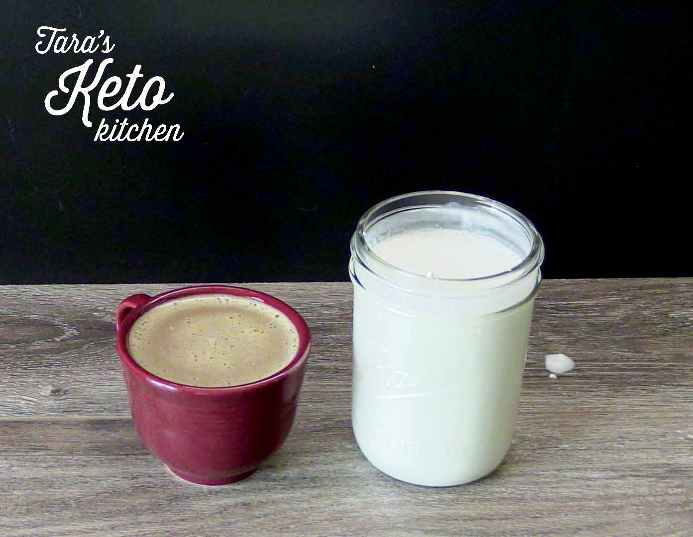 dairy free keto coffee creamer recipe shown finished with a cup of coffee