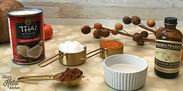 ingredients for Dairy Free Pumpkin Spice Keto Coffee Creamer