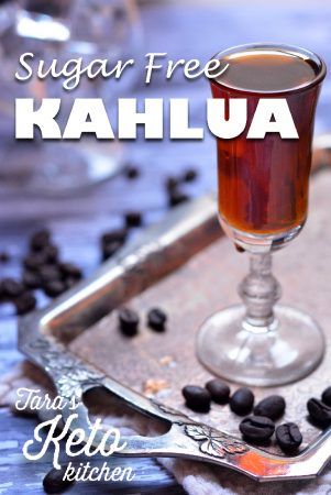 sugar free kahlua shown in a small glass on an antique tray