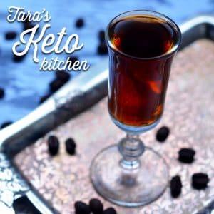 sugar free kahlua shown on an antique tray
