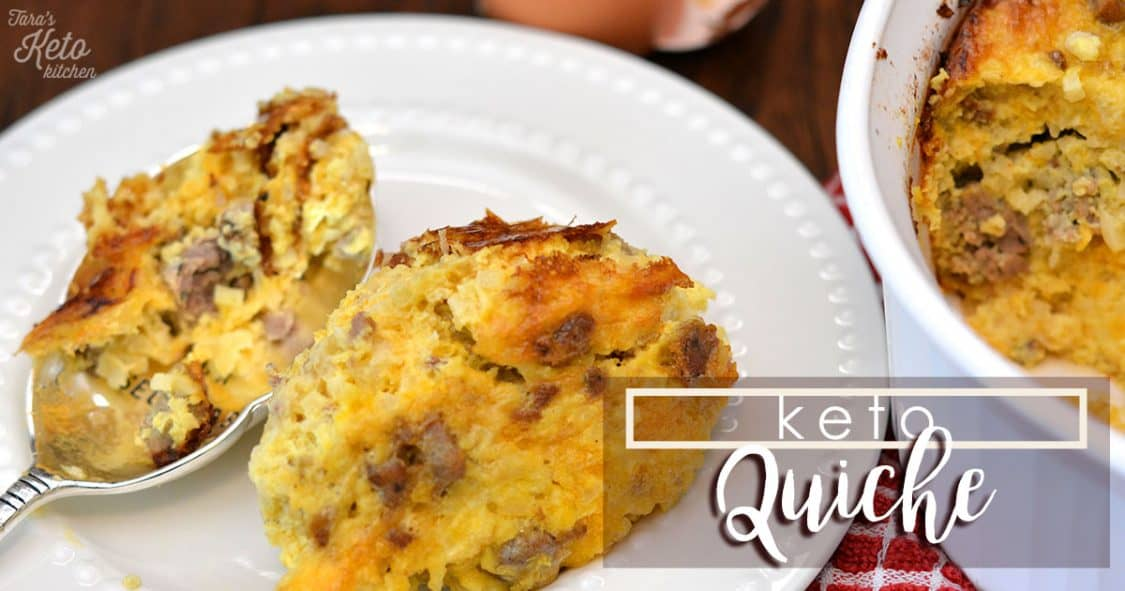 keto quiche on a plate with a spoon beside it