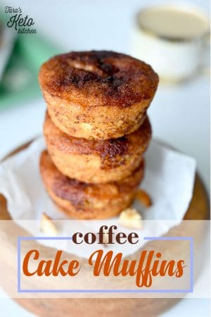 keto Coffee Cake Muffins stacked on top of each other