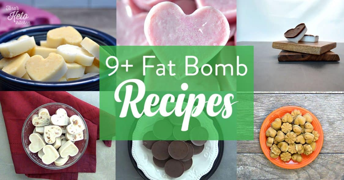 header graphic titled 9+ fat bomb recipes the graphic has six visual images