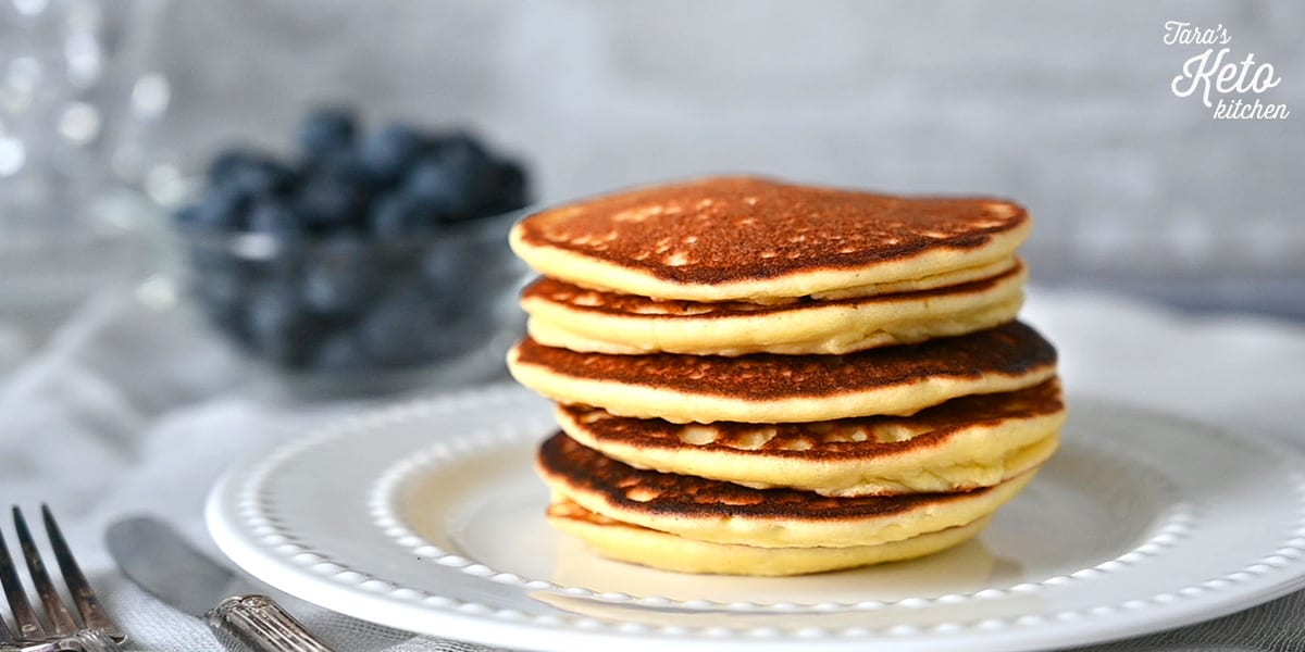 a stack of keto coconut flour pancakes
