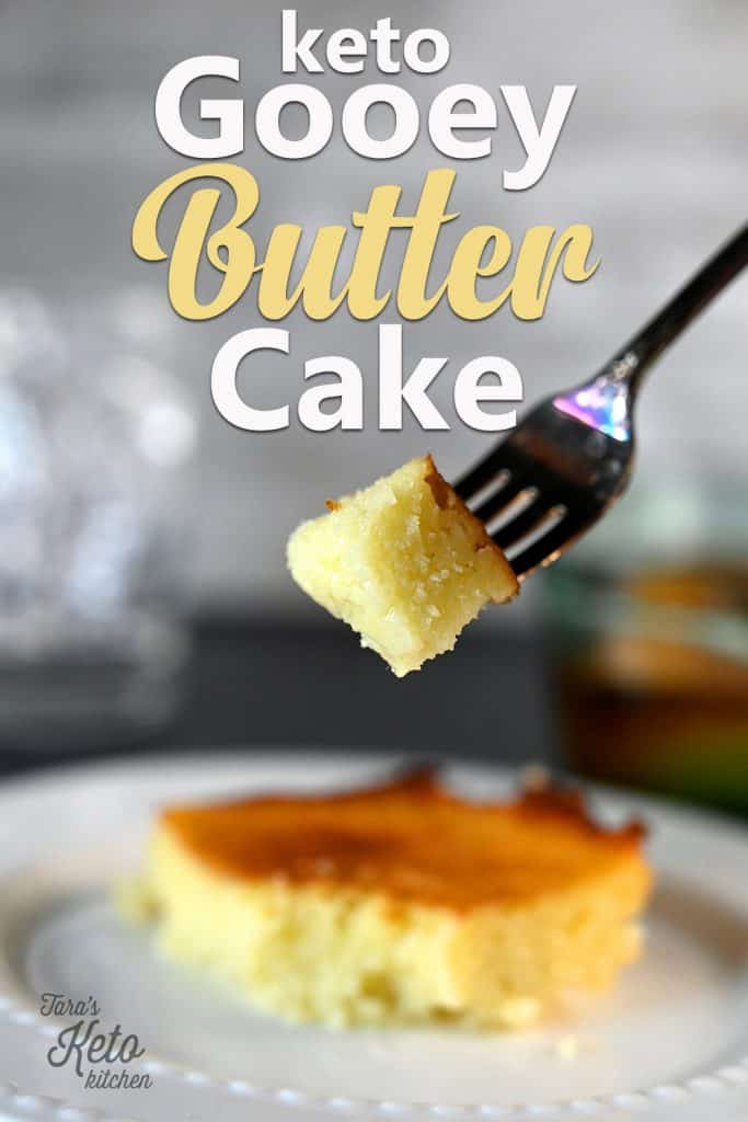Keto Gooey Butter Cake pinterest graphic showing a bite of cake on a fork