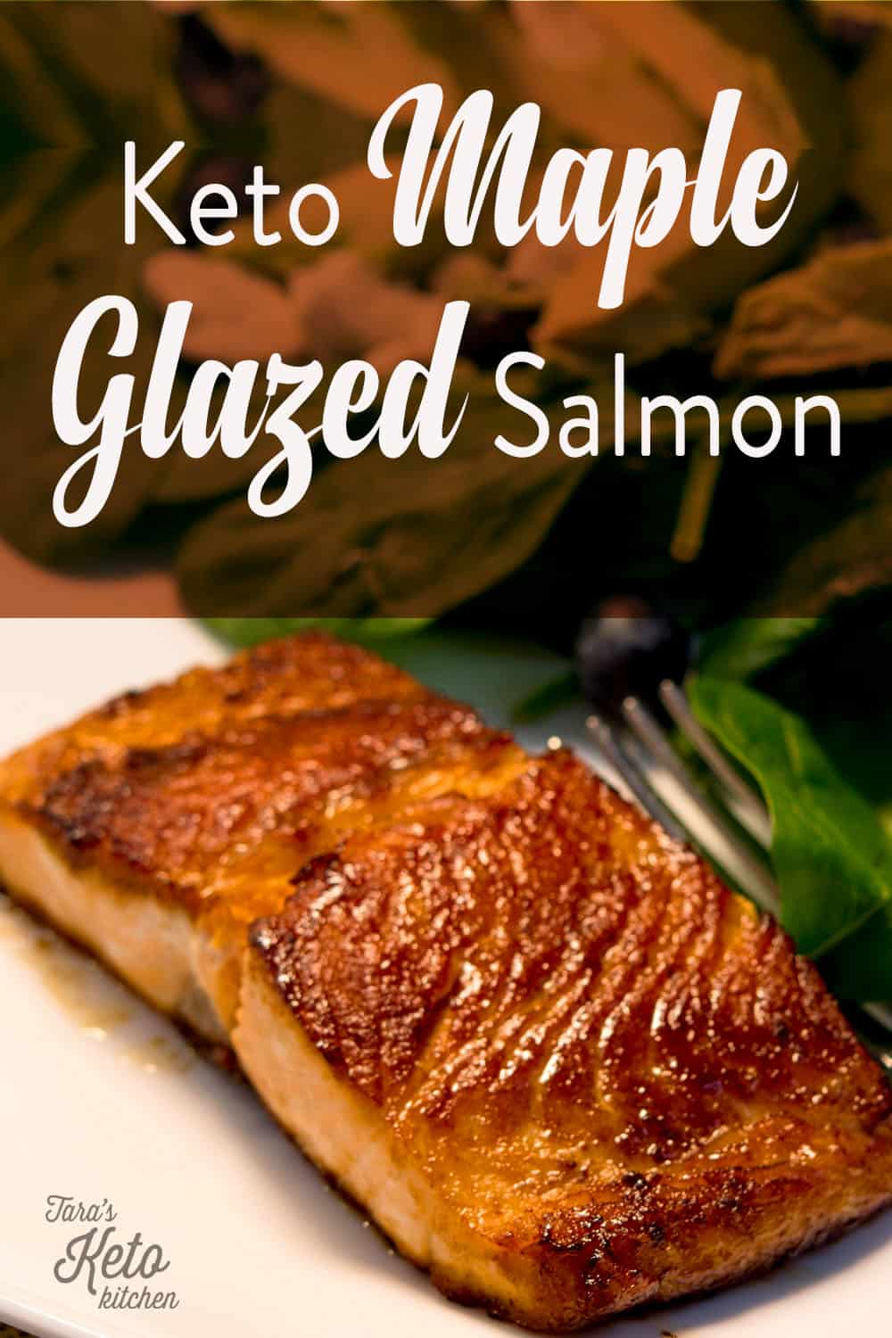 keto maple glazed salmon on a plate with fresh greens