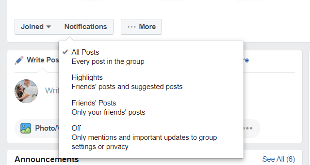showing how to turn on notifications for all posts for member login