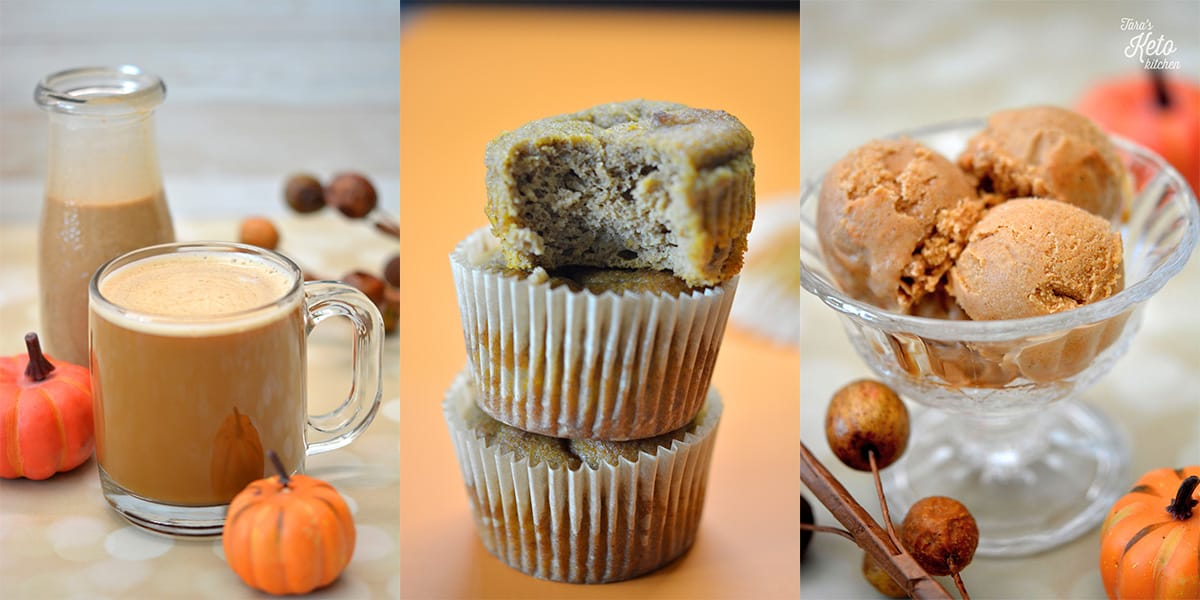keto pumpkin spice image showing coffee creamer, muffins and ice cream