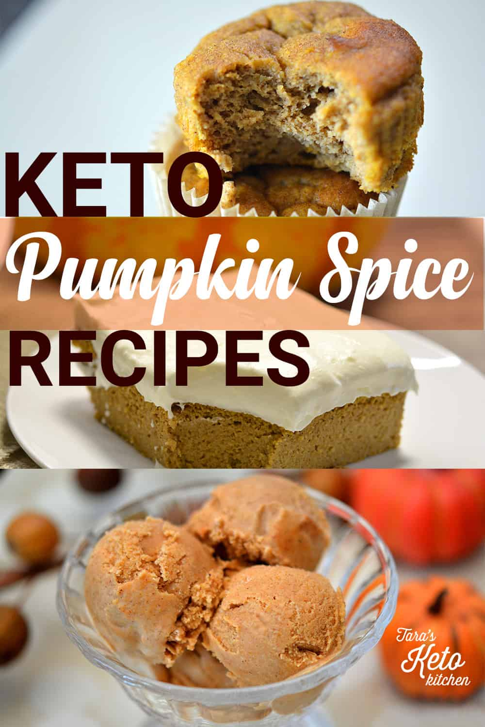 keto pumpkin spice recipes for pinterest image showing muffins, bars and ice cream