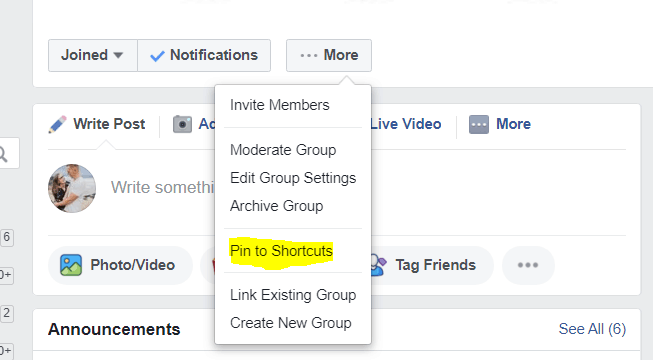 Image showing how to pin member login to shortcuts on facebook
